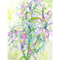 """Tree Lilies""  by Mary Anne Carley - Watercolor on rice paper"