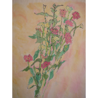 """Zinnias""  by Mary Anne Carley - Watercolor on rice paper"