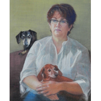 """Woman with Dachshunds""  by Laura Bleau - Pastel"
