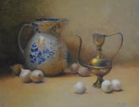 """Blue, White, and Gold"" - oil by Kate Hall"