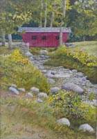 """Covered Bridge at Kent State Park"" - watercolor by Robert Doyle"
