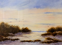 "Award for Watercolor, ""Gulls Gathering"", Victoria Buffard, watercolor"